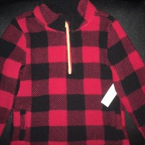 Old Navy Toddler Red Plaid Sherpa Pull Over NWT